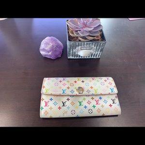 Used Louis Vuitton white Murakami wallet